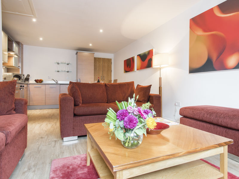The Sitting Area In PREMIER SUITES Newcastle Serviced Apartments